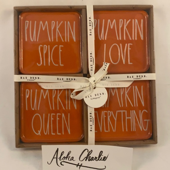 Rae Dunn Fall Pumpkin Coaster Set